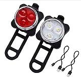 Doyime LED Fahrradlicht Set USB Aufladbar Wasserdicht Fahrradlampe Set, LED Fahrradlampe Fahrradbeleuchtung Frontlicht und Rücklicht