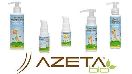 Shampoo Doccia + Pasta per il cambio pannolino + Crema viso e corpo + Olio Massaggio Peach + Olio Rilassante (sollievo da raffreddore e tosse) | AZETAbio | Linea bimbi