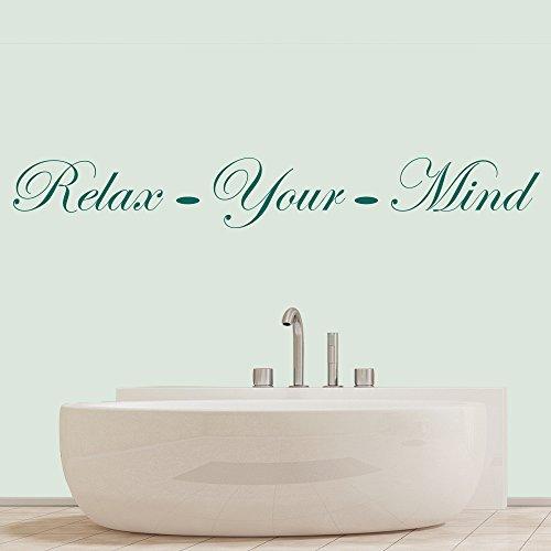 Entspanne deinen Verstand Elegantes Badezimmer Zitat Wandsticker Heim Dekor Art Decals verfügbar in 5 Größen und 25 Farben Groß Ozean Blau