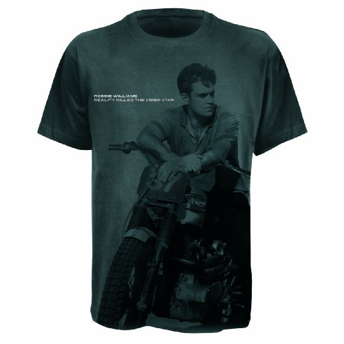 Universal Music Shirts Robbie Williams-Grande stampa bicicletta maglietta unisex grigio 48/50