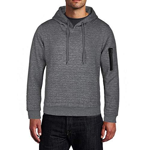 HOSD 2019 Pullover Männer Solide Pullover Mode Neue Männer Casual Kapuzenpullover Herbst Winter Warmt Dunkelgrau XL