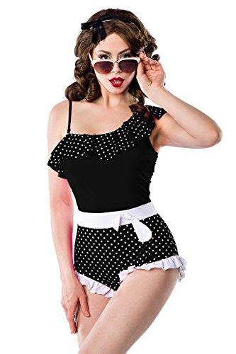 Sexy Vintage Badeanzug Rüschen Retro Muster Schwarz Weiß Schleife Rockabilly 50s, Farbe:Schwarz/Weiß;Größe:XL