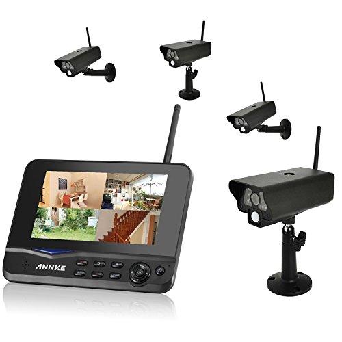ANNKE Digitales Kamera Funk-Überwachungs-Set (inkl. 7 Zoll TFT Monitor + 4 Stk. Kameras, kabellos, Nachtsicht (Infrarotkamera), erweiterbar bis zu 4 Kameras, bis zu 300 m, Aufnahmefunktion, SD-Kartenslot bis 32GB, USB 2.0 für externe Festplatte bis 1TB) (überwachung Kamera Rekorder)