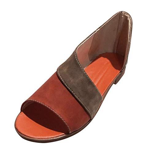 Sandali Donna,Hoopert Estive Donna Moda Comfort Toe Sandali Scarpe Camminare Piattaforma Shoes Eleganti Tacco Basso Peep Toe Scarpe Spiaggia Casuale retrò Romani Sandals (38 EU, Grigio)
