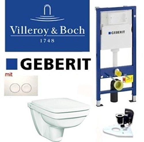 Preisvergleich Produktbild Geberit Duofix Vorwandelement, KERAMAG Premiano Tiefspül WC Komplettset + Deckel Absenkautomatik, Schallschutz, Drückerplatte weiss