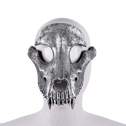 WanTo Mascaras Disfraces Festtag der Toten Halloween Party Maskerade Gruseliger Horror Terror Gruseliges Kostüm Totenkopf Maske, Silber (De De Terror Halloween Mascaras)