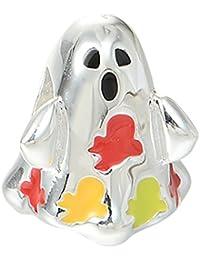 Plata de ley de Halloween Ghost esmalte encanto fr cuentas Pandora Chamilia pulsera Hacer Manualidades para Niños Joyería para Niñas Mujeres Unisex por bellamira
