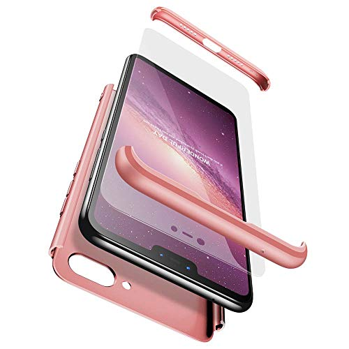 cmdkd Xiaomi Mi 8 Lite Funda, Xiaomi Mi 8 Lite Case Bumper 3 en 1 Estructura 360 Grados Integral para Ambas Caras Hard Skin Carcasa + Cristal Templado para Xiaomi Mi 8 Lite,Rose Oro