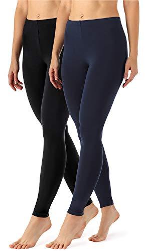 2 Pack Fashion Legging (Merry Style Damen Lange Leggings aus Viskose 2 Pack MS10-143 (Schwarz/Navy, XXL (Herstellergröße: 44)))