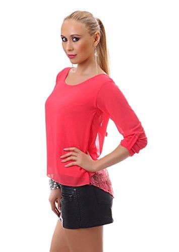 Damen Vokuhila Bluse Chiffon Tunika Shirt Top Spitze Schleife luftig kurzarm Coral