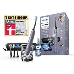 Philips Sonicare DiamondClean Smart Schallzahnbürste HX9924/43 mit 5 Putzprogrammen, 3 Intensitäten, Ladeglas, USB-Reiseetui & 4 Bürstenköpfen – schonendes Putzen dank Drucksensor – Silber