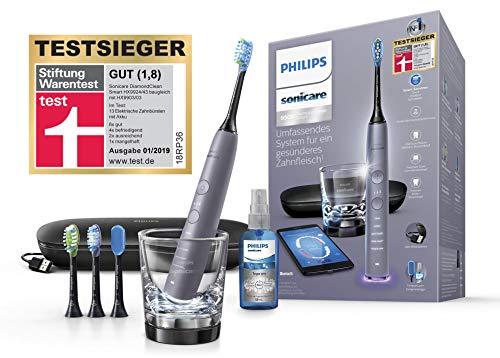 Philips Sonicare DiamondClean Smart Schallzahnbürste HX9924/43 mit 5 Putzprogrammen, 3 Intensitäten, Ladeglas, USB-Reiseetui & 4 Bürstenköpfen - schonendes Putzen dank Drucksensor – Silber