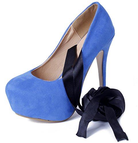 AgeeMi Shoes Femme Escarpins Talon Haut Escarpins Lacets Plateforme Chaussures Bleu