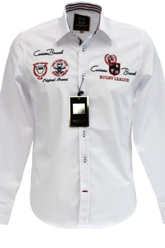 """Carisma Premium Hemd """"Rugby League"""" mit Patches Weiß"""
