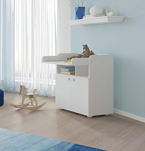 Baby Wickel-Kommode mit ausziehbarer Wickelauflage, 2-türiges Wickeltisch, Wickelkommode (Weiß)