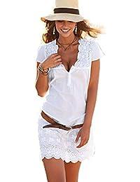 Amazones Vestidos Ibicencos Mujer Blanco Ropa - Vestido-blanco-largo-ibicenco