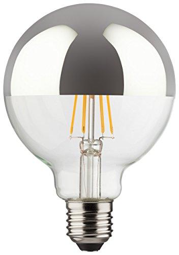 Classic-silber-3-licht (MÜLLER-LICHT 400216 A++, Retro-LED Lampe Miniglobe ersetzt 60 W, Glas, 8 W, E27, silber, 9,5 x 9,5 x 13,5 cm dimmbar)