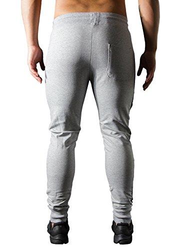 LIONPRIDE Herren Jogginghose, Sweatpants Slim Fit mit Seitenstreifen, Jogger für Sport Fitness Gym & Freizeit Grau