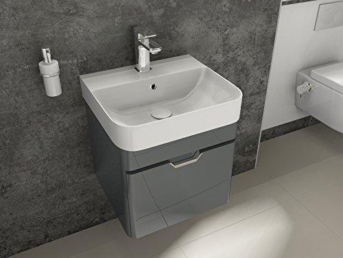 Aqua Bagno Bad-Set Piccolo Gäste-WC-Set Gästebad Badmöbel Unterschrank Keramik Waschbecken 48cm (Kleinen Waschbecken Bad)