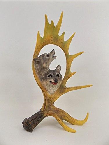 Wolf Kopf Büste in Hirsch Elch Geweih Hund Skulptur Deko Tier Figur Wildhund (Wolf Büste)