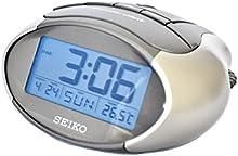 Comprar Seiko QHL023A - Reloj despertador con pantalla LCD, calendario y termómetro, color gris metálico