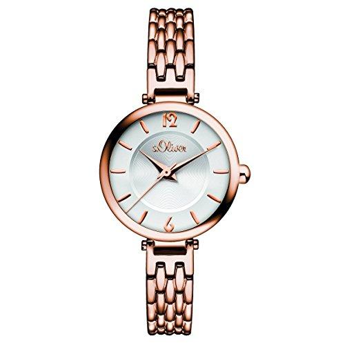 s. Oliver–Reloj de pulsera analógico para mujer cuarzo IP Rosé So de 15100de MQR