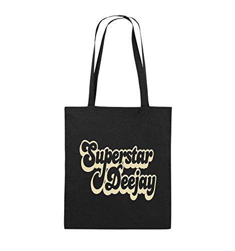 Comedy Bags - Superstar Deejay - Jutebeutel - lange Henkel - 38x42cm - Farbe: Schwarz / Pink Schwarz / Beige