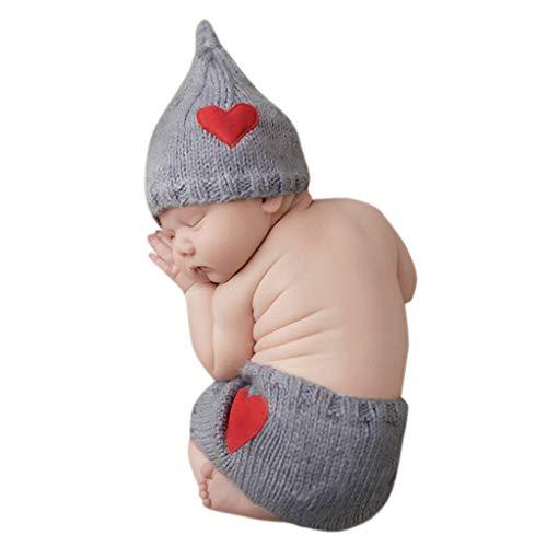Kinder-schlaf-hose (H.eternal Strickmütze Herz Mützen Baby-Mädchen Jungen Outfits Schlaf Hosen Geburtstag Bekleidungssets Foto Kostüm Fotografie Prop (Grau))