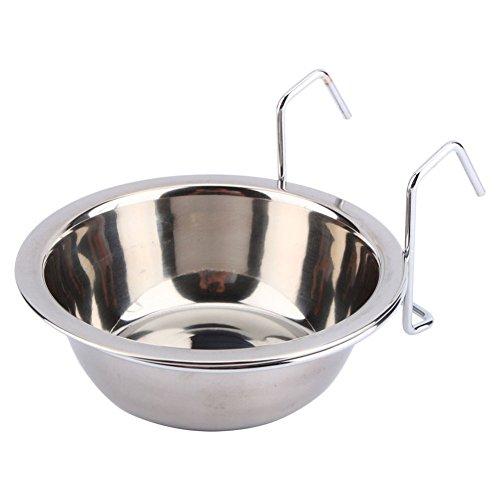 SOOFO Hundenapf Edelstahl Käfig Coop Cup Vogel Katze Hund Welpen Essen Wasser Schüssel Hängen Haken Pet Feeder (M) -