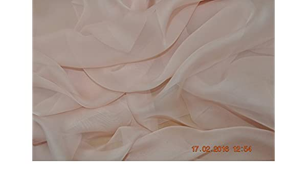114 cm Pure silk chiffon sold by the meter blush