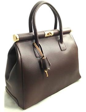 CTM Bag Beige Satchel von Elegante Frau mit Handgriffen und Schulterriemen aus echtem Leder Made in Italy 35x28x16cm