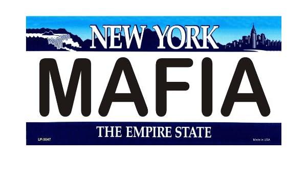 MAFIA New York Novelty State Background Vanity Metal License Plate
