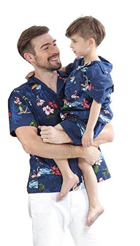 Passender Vater Son Hawaiian Luau Outfit Weihnachtsmann-Hemd Nur Jungenhemd Marine Santa Flamingo XL-10