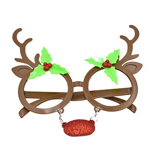 BESTOYARD Weihnachten Brillen mit Nase für Kinder und Erwachsene Rentier Kostüm Party Brillen Rahmen