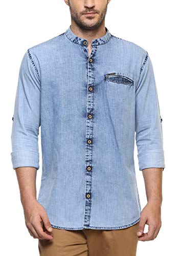Urbano Fashion Men's Light Blue Denim Shirt with Mandarin Collar
