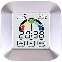 Topker Toque medidor de humedad de la pantalla digital termómetro higrómetro Reloj despertador Mesa de Casa cubierta Comfort pantalla de índice de temperatura