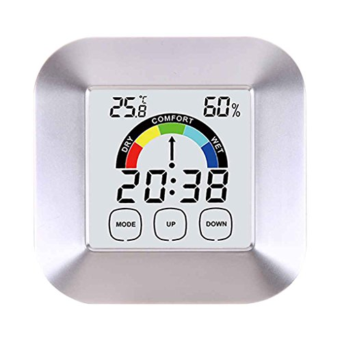 Flushzing Touch-Screen-Digital-Thermometer-Hygrometer-Wecker-Ausgangsinnen Tabelle Comfort Index Anzeige Temperatur- und Feuchtigkeitsmessgerät - Touch-screen-wecker