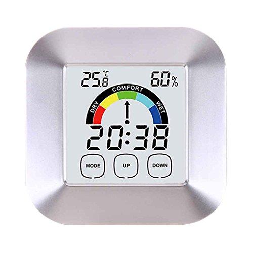 Bomcomi Touch-Screen-Digital-Thermometer-Hygrometer-Wecker-Ausgangsinnen Tabelle Comfort Index Anzeige Temperatur- und Feuchtigkeitsmessgerät -
