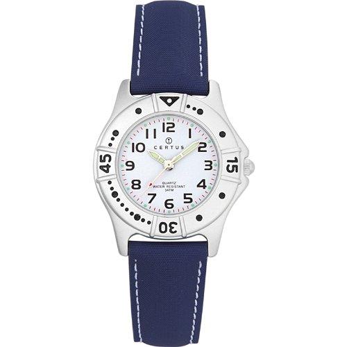 Certus–Comfortkissen–647401-Armbanduhr Analog Quarz Weiß Zifferblatt PU strap-blue