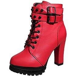❤️ Botas de tacón Alto de Invierno para Mujer, Zapatos Martain Boot de Cuero con Cordones de Color sólido Zapatos de Punta Redonda Absolute