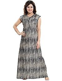 f30c813be5 TUCUTE® Women Cotton Fabric Beautiful Print Sleeveless Nighty Night Gown Night  Dress (