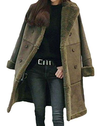 erdbeerloft - Damen dicker Mantel Kunstfell, Olive, Größe M