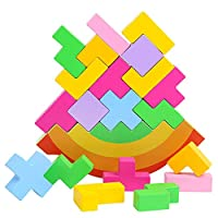 AiYoYo Balancing Game Stacking Games Stacking Toy Wood Balancing Stacking Games for Fine Motor Motifs Colorful Building Blocks Educational Toys Educational Game for Kids