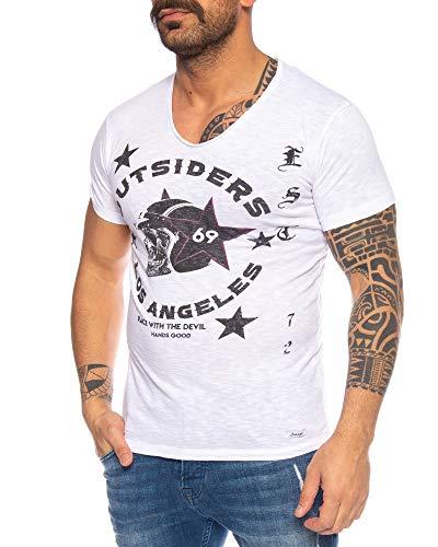 LARAZÉ Race to Hell Herren T-Shirt Tee Kurzarm Shirt Mit V-Ausschnitt S-XXL, Farbe:Weiß, Größe:XXL