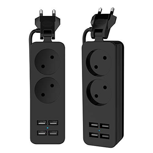 UPWADE Mehrfachsteckdose, 2 Fach schaltbare Steckdosenleiste mit 2 USB 1200W 250v 1,5m Kabel, Mehrfachsteckdosen macht Streifen Tragbaren Steckdosenleiste mit USB-Ladegerät für Smartphones Tablets