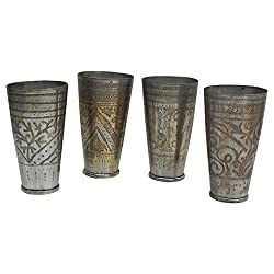 IndianShelf Vintage Brass Drinkware Glass Lassi Cup Water Decorative Indian VBC-70