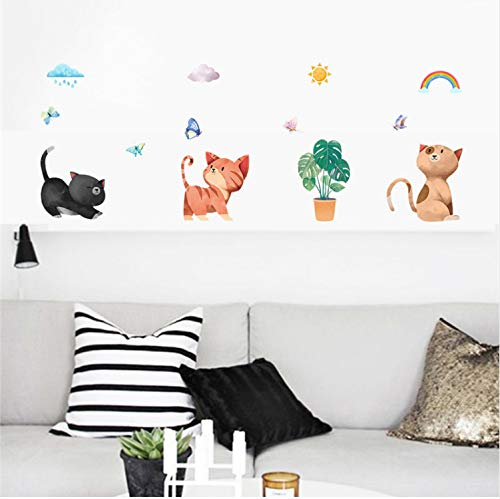 TYKCRt Autocollant Mural Beau Chat Papillon 30 * 90 cm S Pour Les Chambres D'Enfants Décor À La Maison Accessoires De Bande Dessinée Animaux Stickers PVC Murale Art