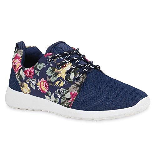 Damen Sportschuhe Muster |Laufschuhe Runners | Sneakers Schuhe Strass Metallic Blau Muster