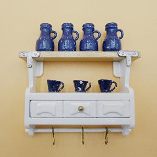 Generic Scala 1:12 Pensile Bambole Casa in Miniatura Con La Tazza Di Bar per Cucina