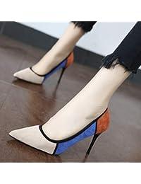 YMFIE Pelle scamosciata moda europea sexy abbinata a stiletto colorito bocca a punta bassa con scarpe con tacJO5c1Kug3z..